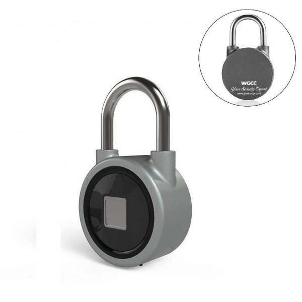 Fingerprint Padlock, Bluetooth lock Metal Waterproof, Suitable for House Door, Backpack, Suitcase, Bike, Gym locker, Office, APP is Suitable for Android/iOS(Gray)